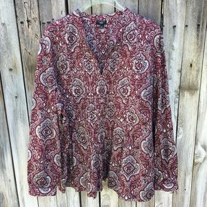 Talbots Sequin Paisley Print Peasant Top Red 3X
